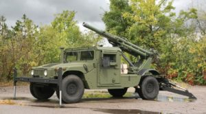 Hawkeye 105mm howitzer on HMMWV