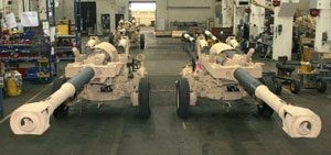 Two howitzers in towed position side by side