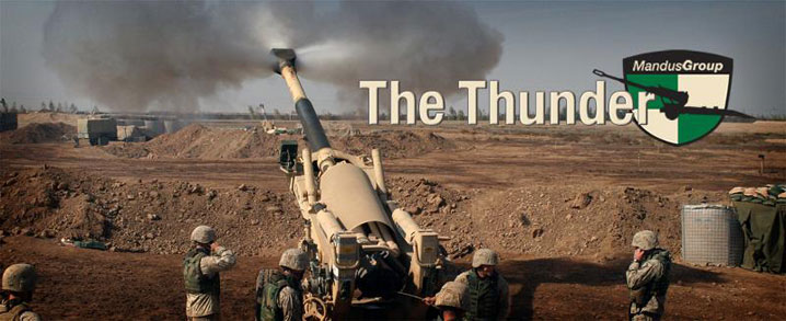 The Thunder masthead showing an artillery cannon firing into the desert.